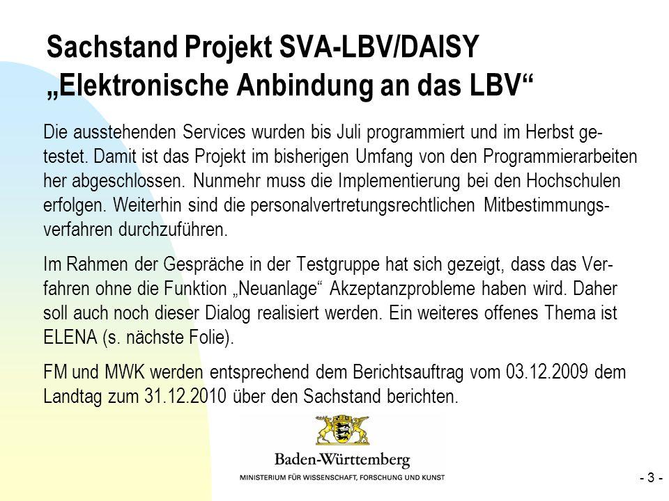 """Sachstand Projekt SVA-LBV/DAISY """"Elektronische Anbindung an das LBV"""