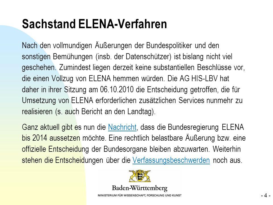 Sachstand ELENA-Verfahren