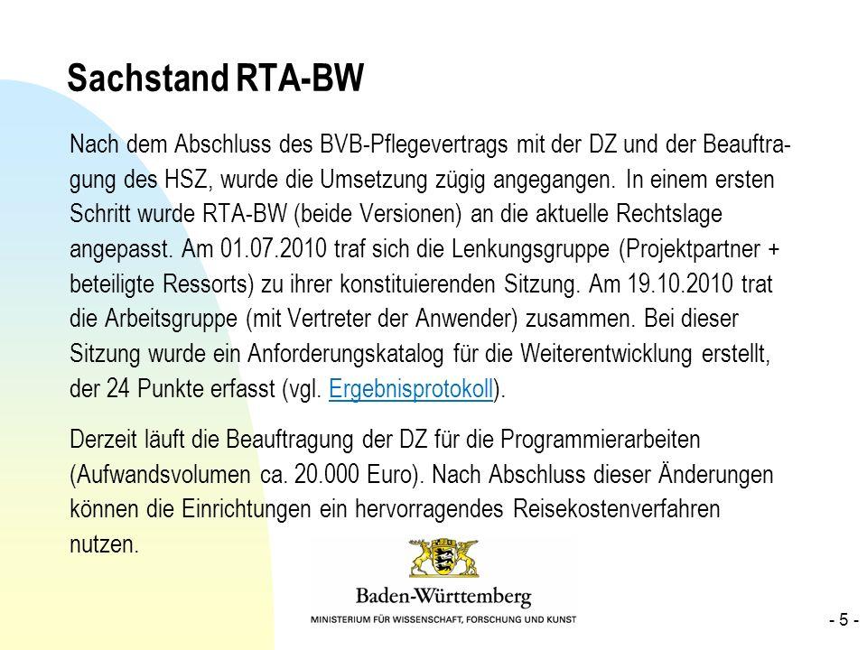 Sachstand RTA-BW
