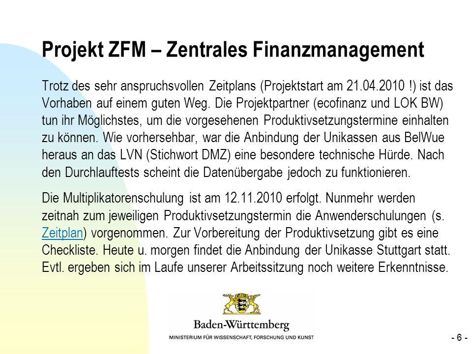 Projekt ZFM – Zentrales Finanzmanagement