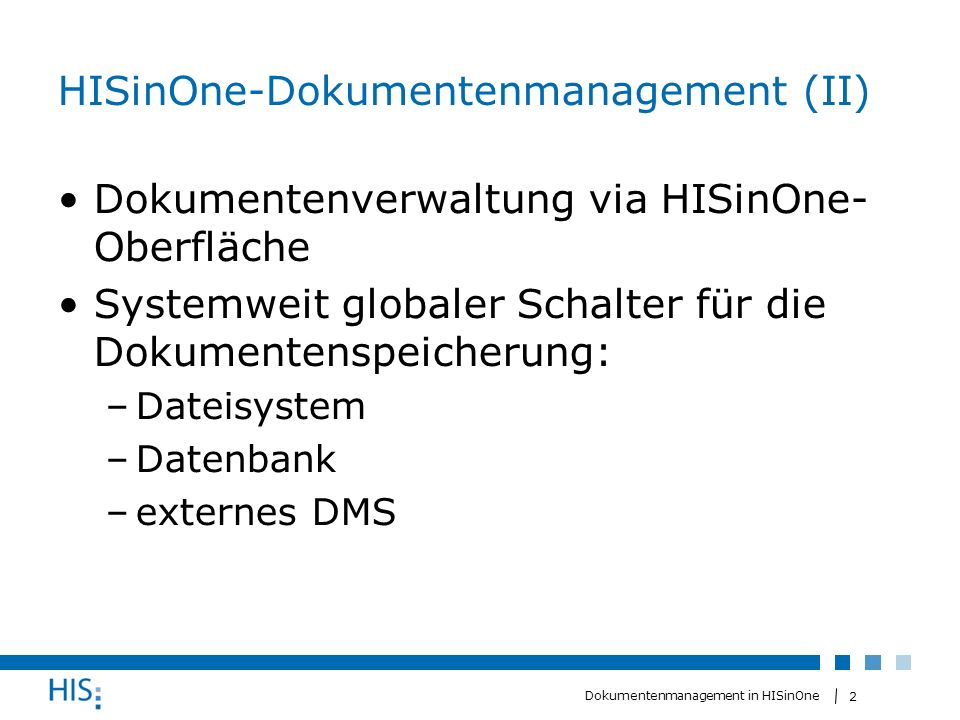 HISinOne-Dokumentenmanagement (II)