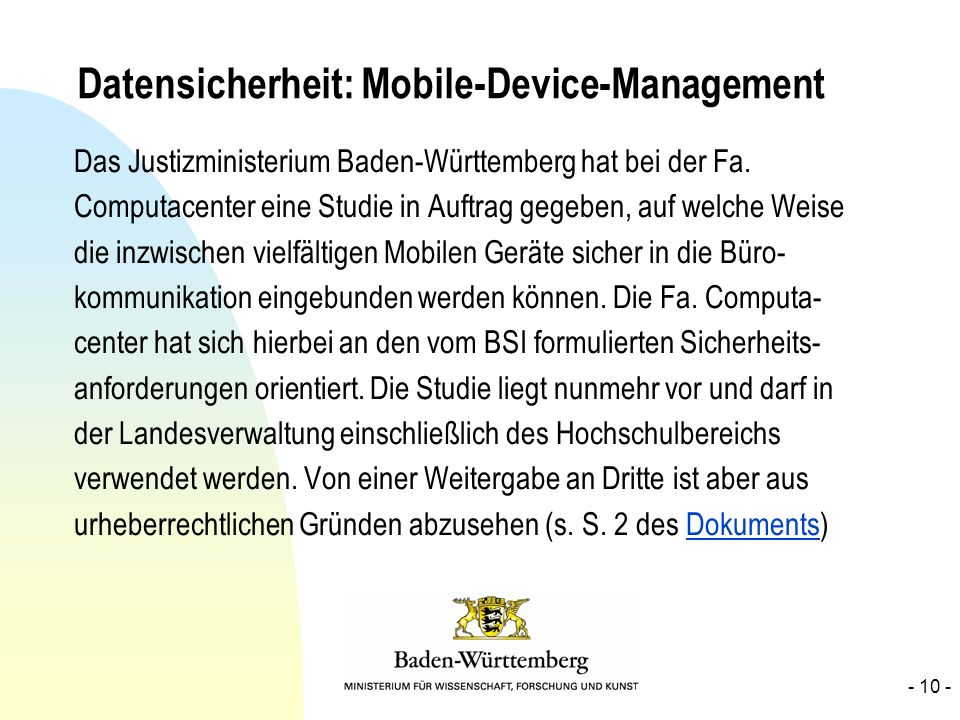 Datensicherheit: Mobile-Device-Management
