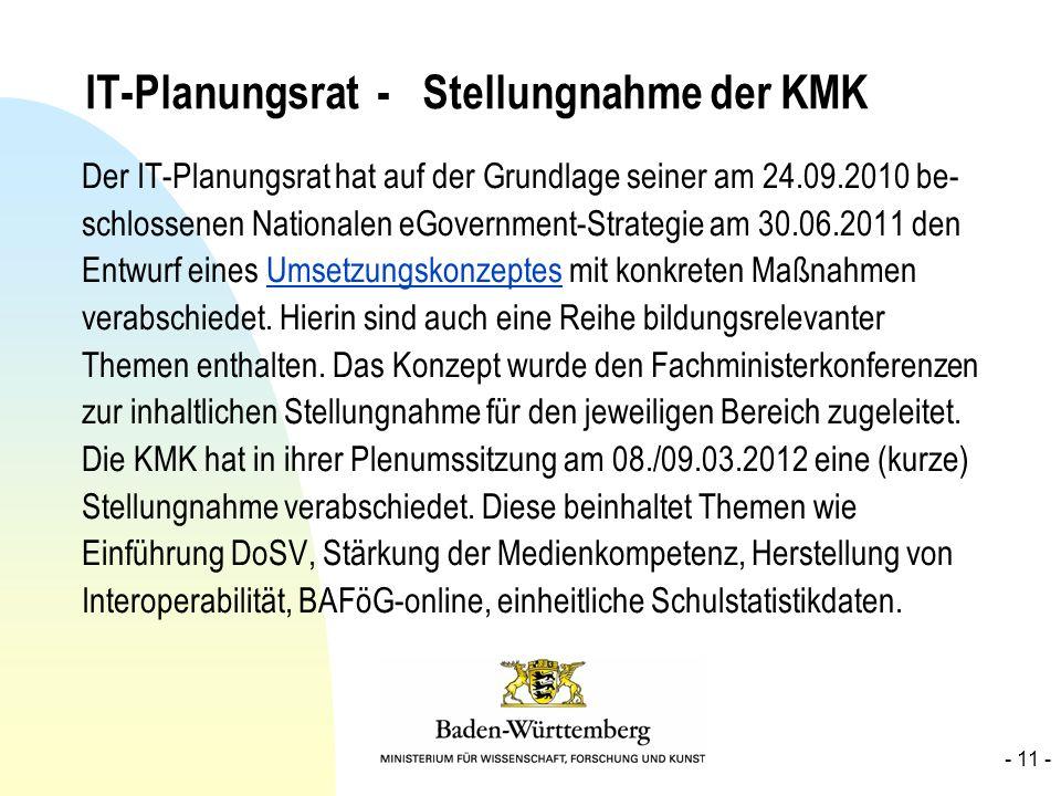 IT-Planungsrat - Stellungnahme der KMK