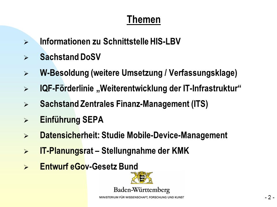 Themen Informationen zu Schnittstelle HIS-LBV Sachstand DoSV