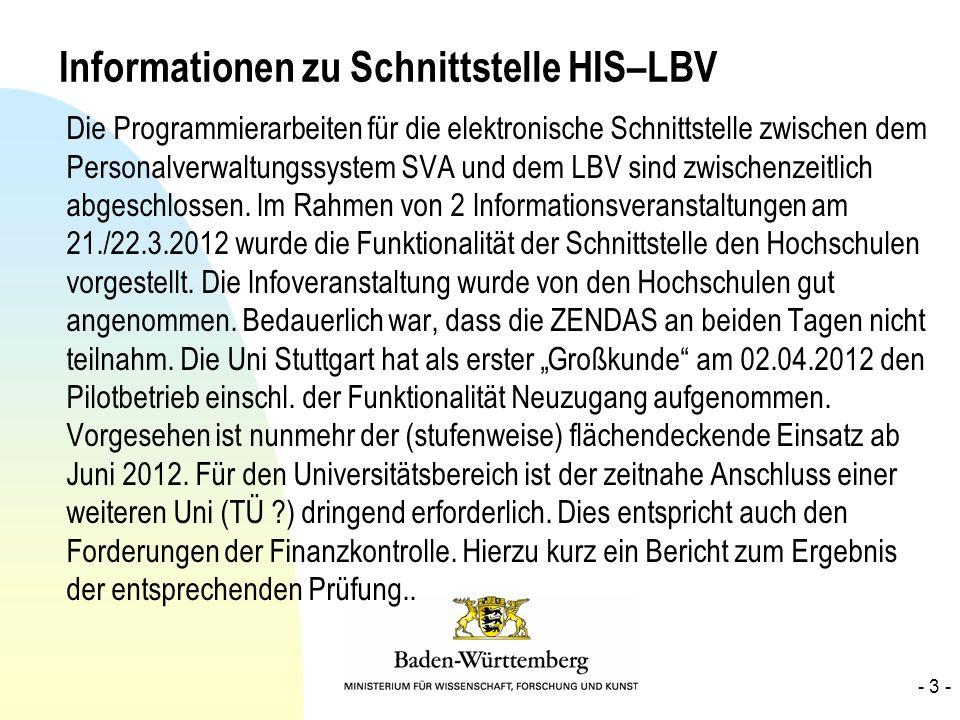 Informationen zu Schnittstelle HIS–LBV