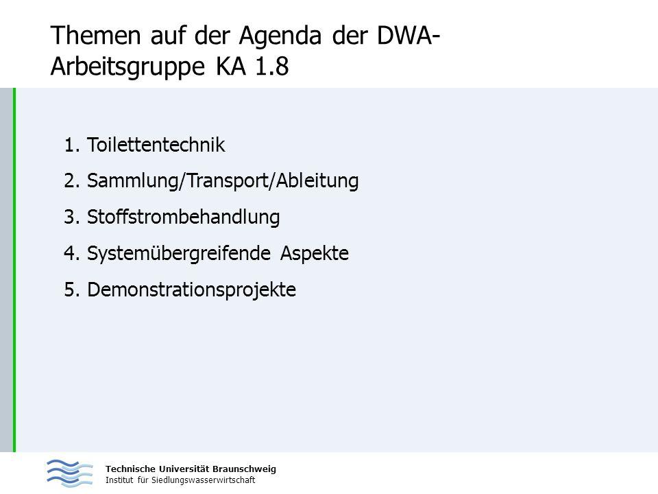 Themen auf der Agenda der DWA-Arbeitsgruppe KA 1.8