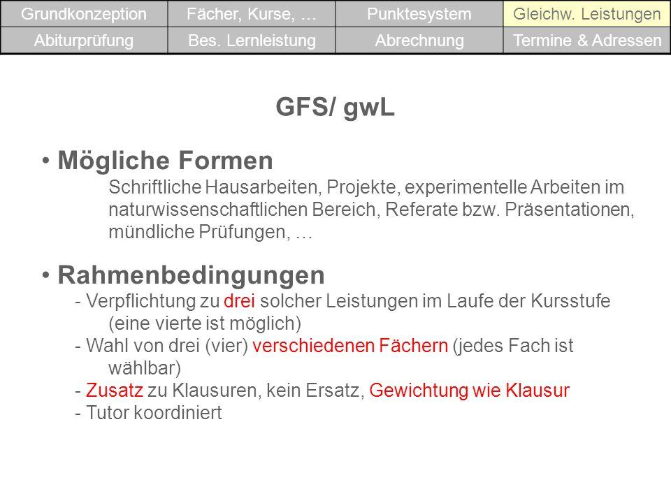 GFS/ gwL Mögliche Formen Rahmenbedingungen