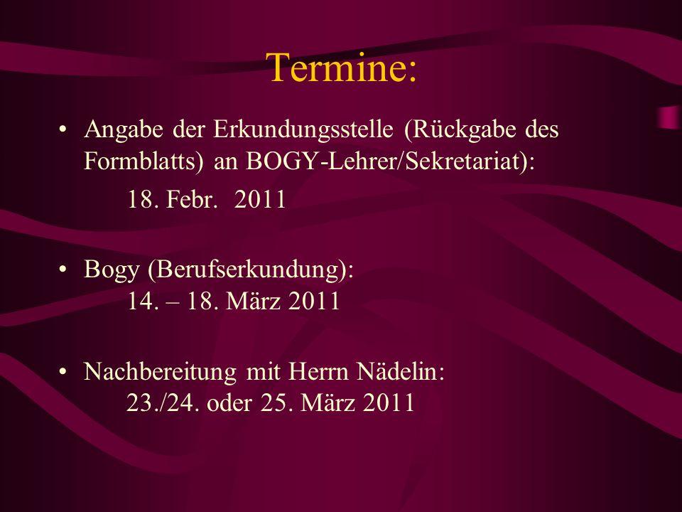 Termine: Angabe der Erkundungsstelle (Rückgabe des Formblatts) an BOGY-Lehrer/Sekretariat): 18. Febr. 2011.