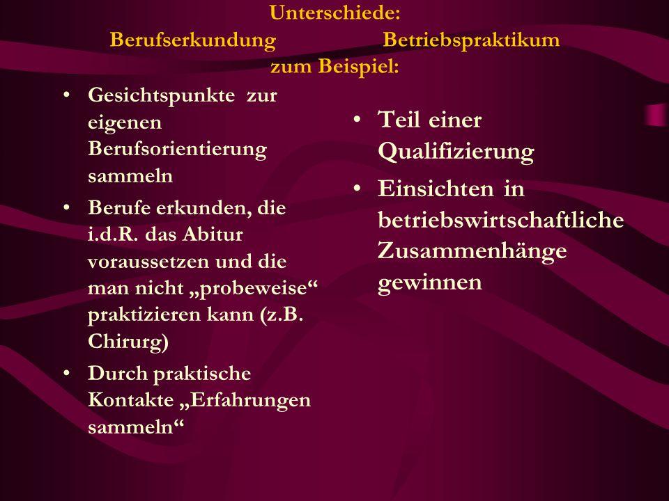 Unterschiede: Berufserkundung Betriebspraktikum zum Beispiel: