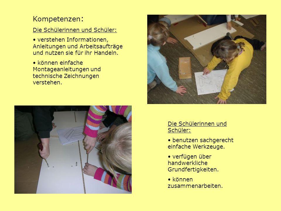 Kompetenzen: Die Schülerinnen und Schüler: