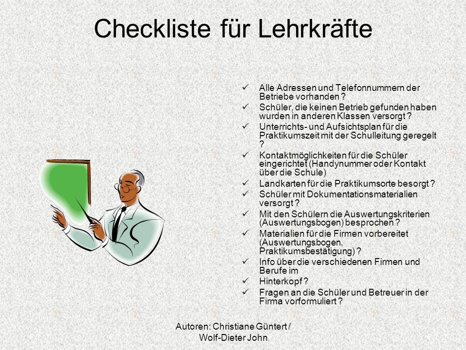 Checkliste für Lehrkräfte
