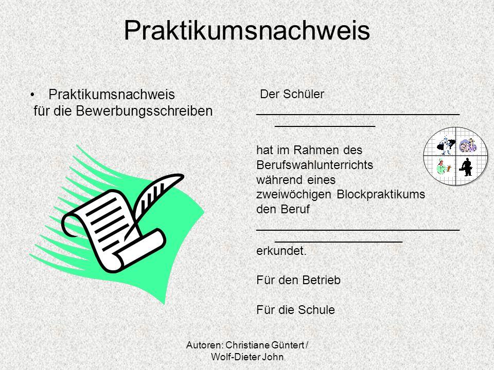 Autoren: Christiane Güntert / Wolf-Dieter John