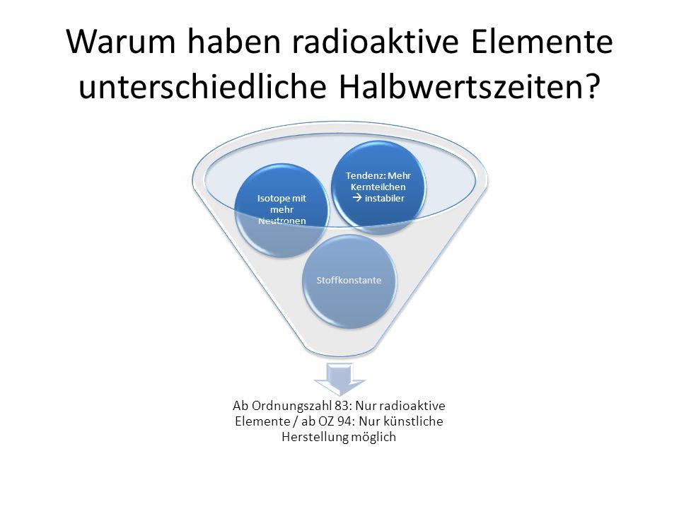 Warum haben radioaktive Elemente unterschiedliche Halbwertszeiten