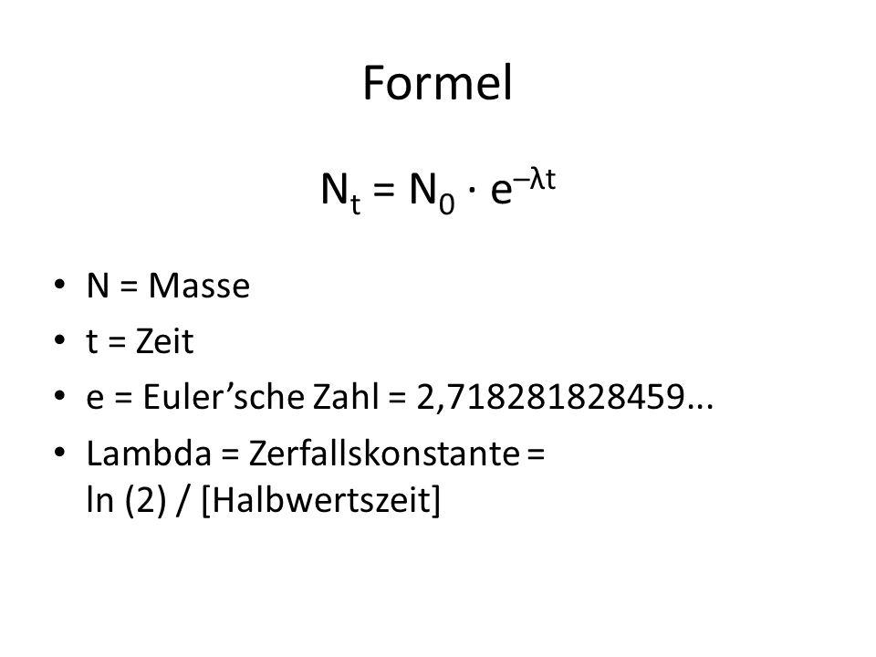 Formel Nt = N0 · e–λt N = Masse t = Zeit