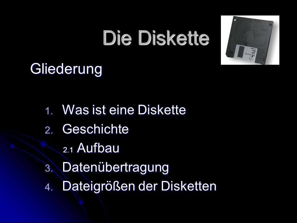 Die Diskette Gliederung Was ist eine Diskette Geschichte 2.1 Aufbau