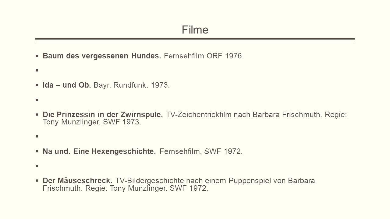 Filme Baum des vergessenen Hundes. Fernsehfilm ORF 1976.
