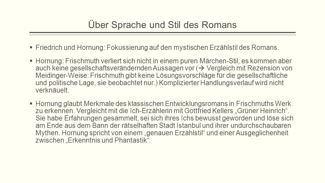 Über Sprache und Stil des Romans