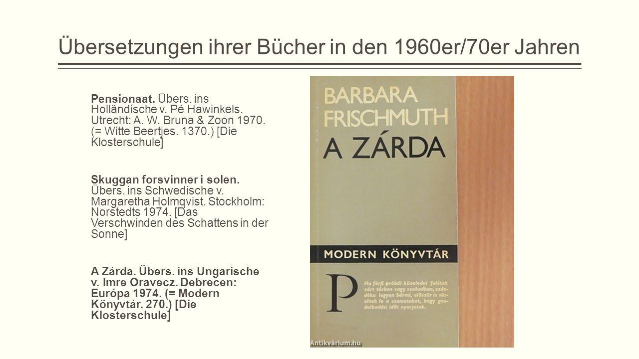 Übersetzungen ihrer Bücher in den 1960er/70er Jahren
