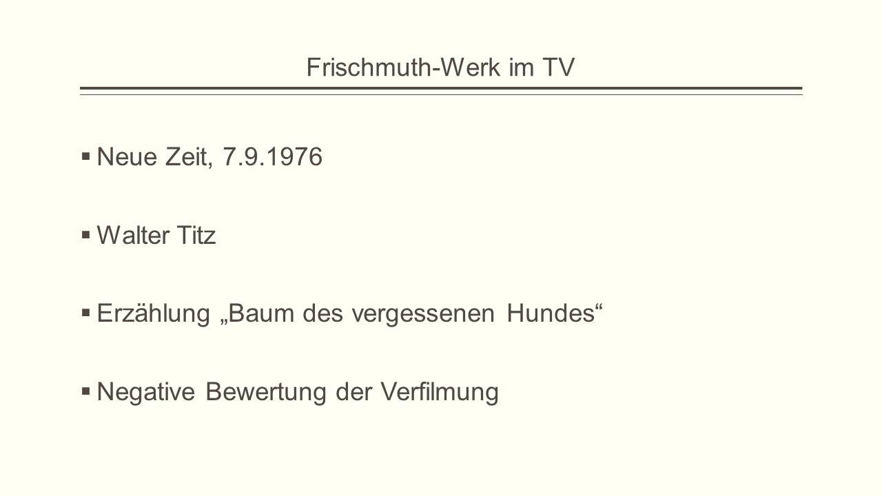 Frischmuth-Werk im TV Neue Zeit, 7.9.1976. Walter Titz.