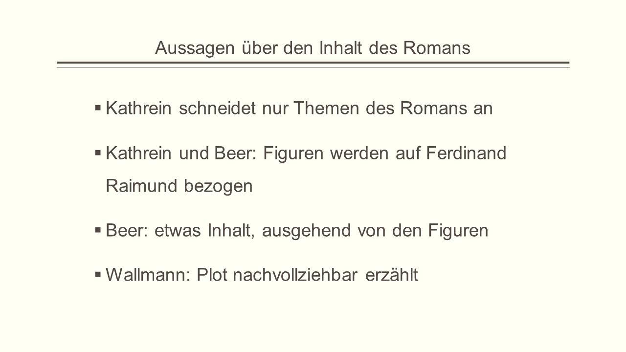 Aussagen über den Inhalt des Romans