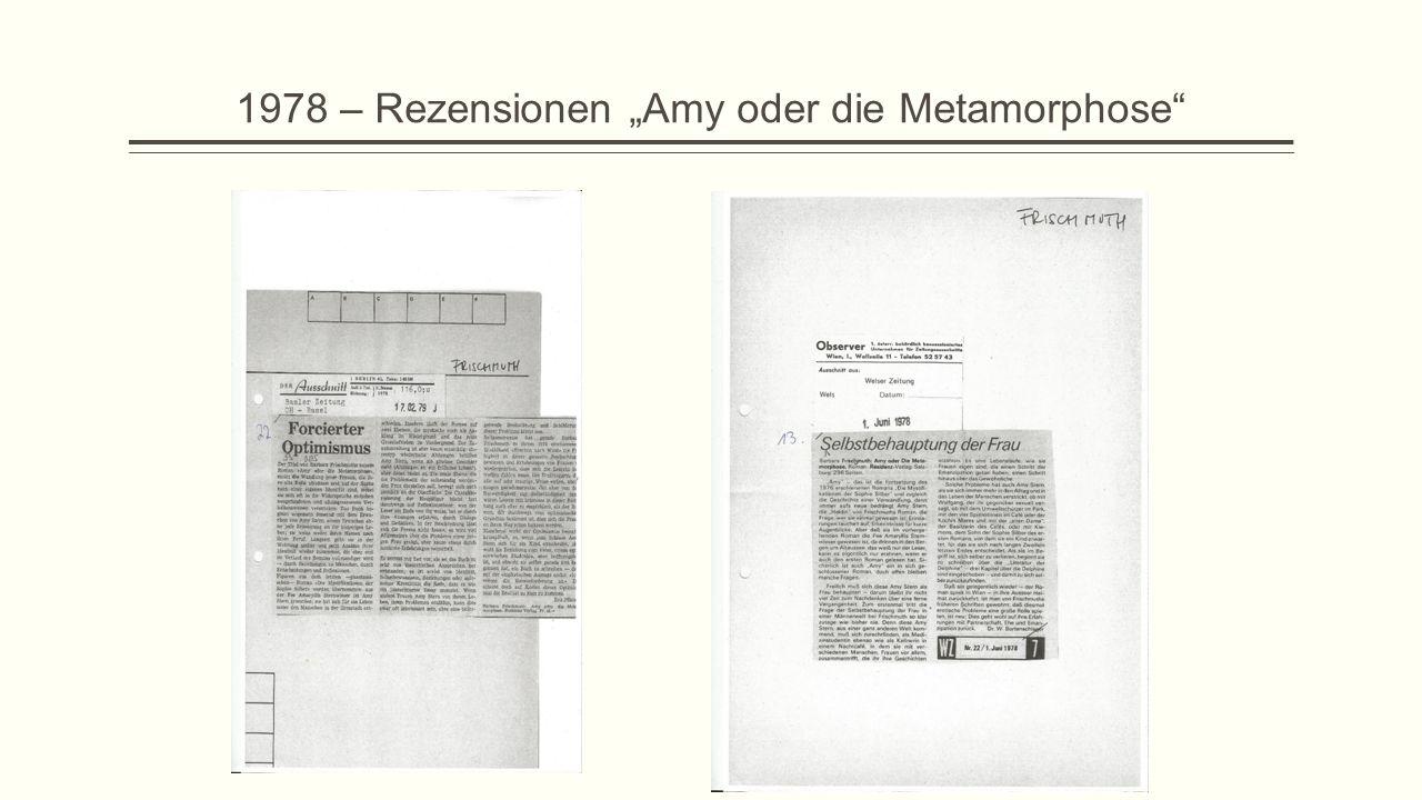 """1978 – Rezensionen """"Amy oder die Metamorphose"""