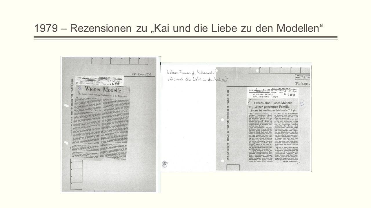 """1979 – Rezensionen zu """"Kai und die Liebe zu den Modellen"""
