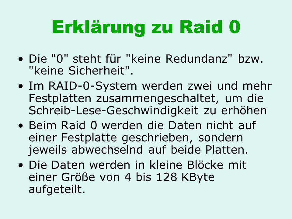 Erklärung zu Raid 0 Die 0 steht für keine Redundanz bzw. keine Sicherheit .