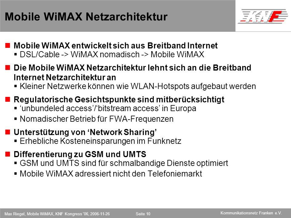 Mobile WiMAX Netzarchitektur