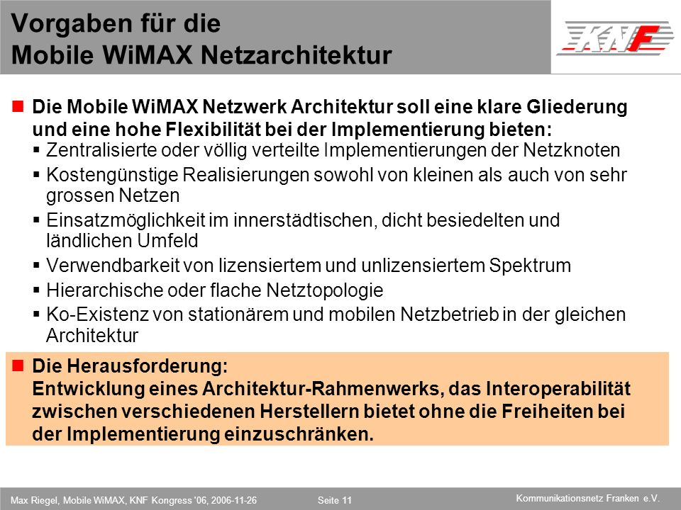 Vorgaben für die Mobile WiMAX Netzarchitektur