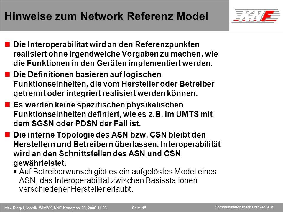 Hinweise zum Network Referenz Model