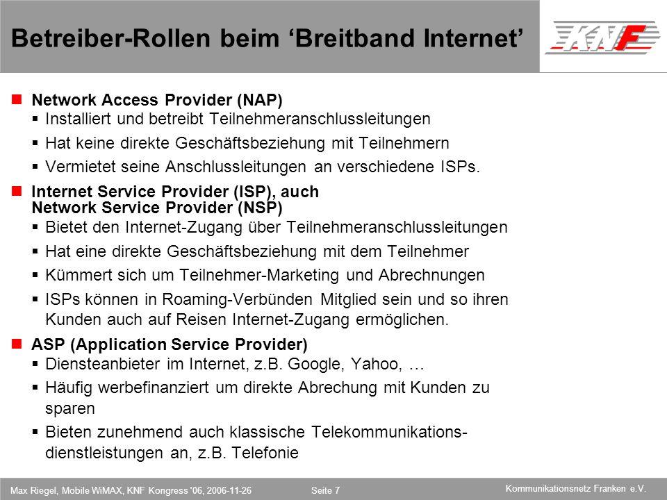 Betreiber-Rollen beim 'Breitband Internet'