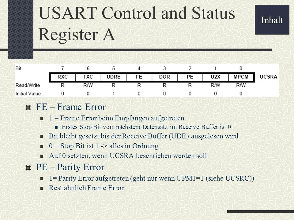 USART Control and Status Register A