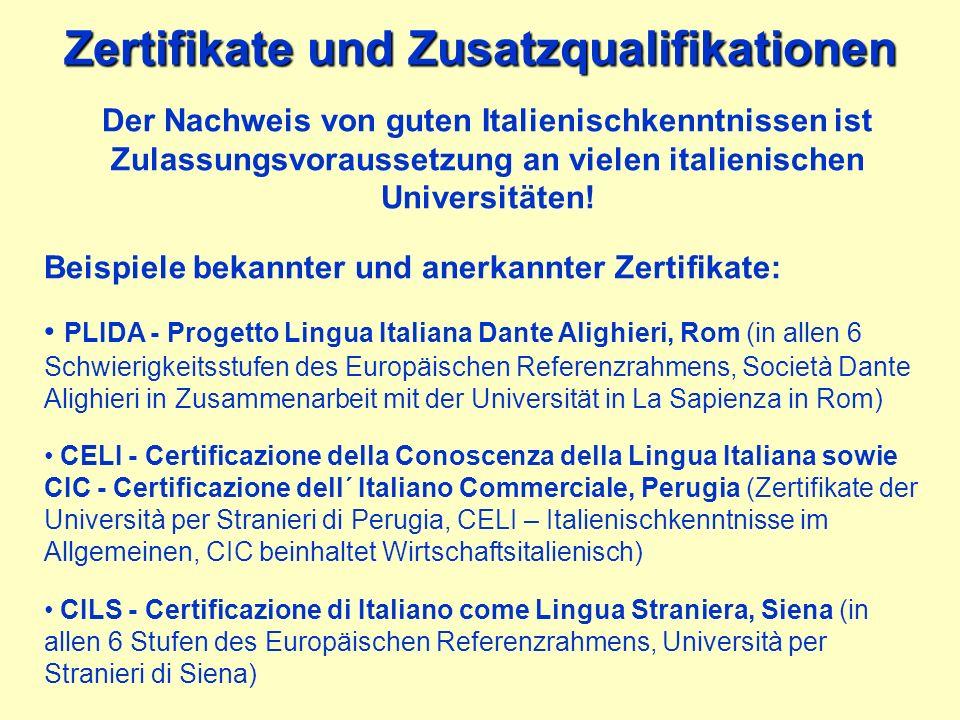 Zertifikate und Zusatzqualifikationen