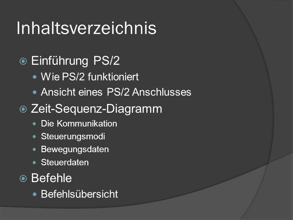 Inhaltsverzeichnis Einführung PS/2 Zeit-Sequenz-Diagramm Befehle