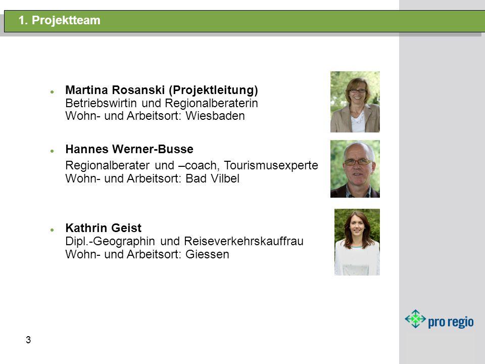 1. Projektteam Martina Rosanski (Projektleitung) Betriebswirtin und Regionalberaterin Wohn- und Arbeitsort: Wiesbaden.