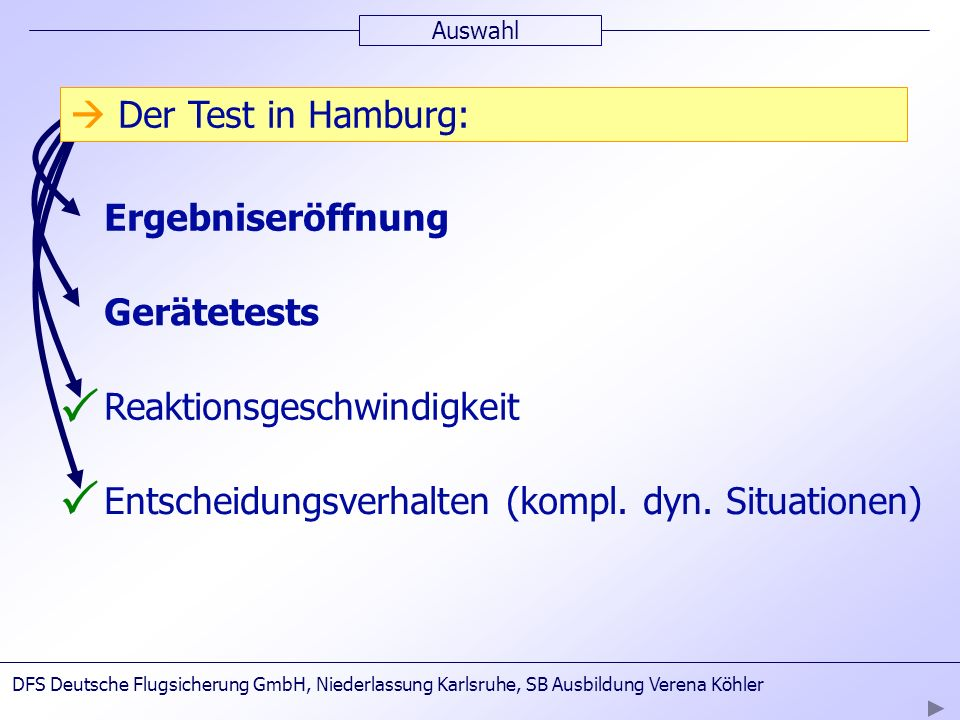 P P  Der Test in Hamburg: Dauer: bis zu 5 Tagen  2.Testtag