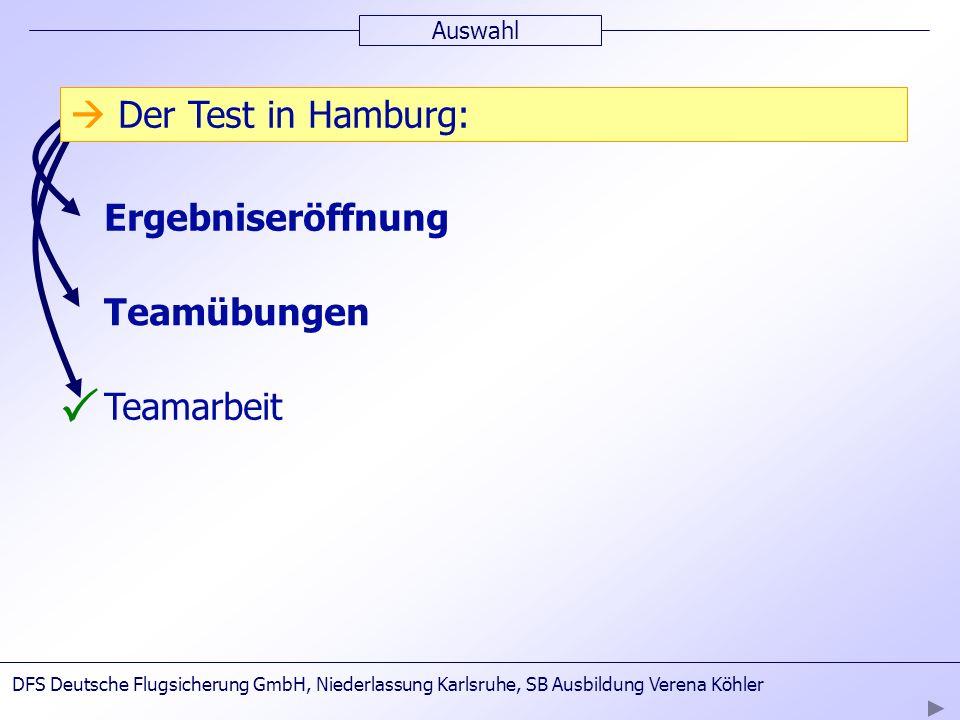 P  Der Test in Hamburg:  Dauer: bis zu 5 Tagen  3.Testtag