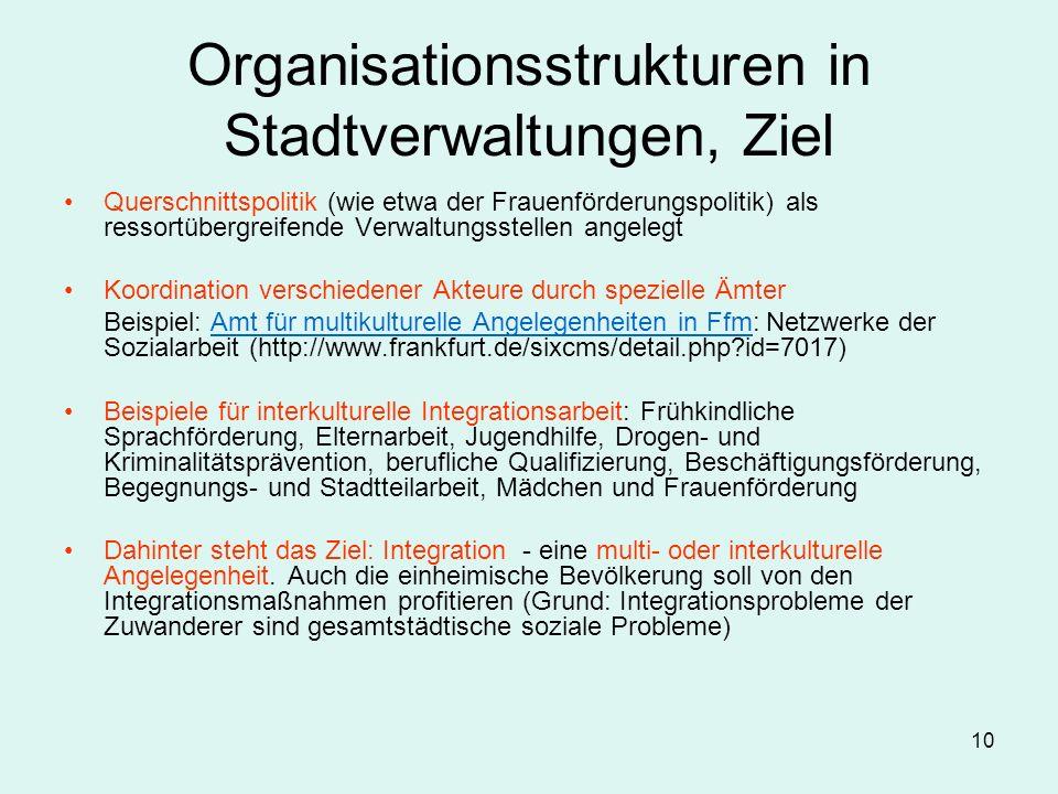 Organisationsstrukturen in Stadtverwaltungen, Ziel