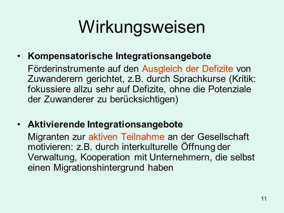 Wirkungsweisen Kompensatorische Integrationsangebote