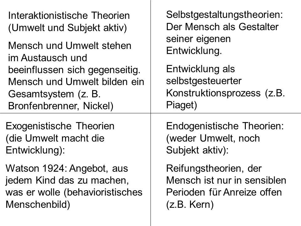 Interaktionistische Theorien (Umwelt und Subjekt aktiv)