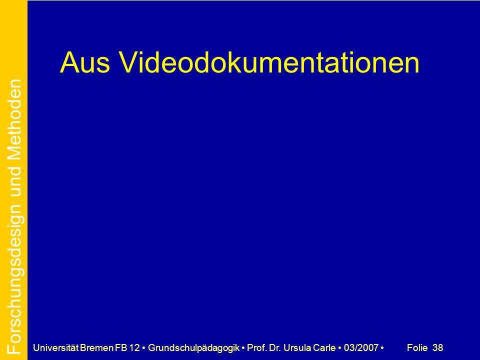 Aus Videodokumentationen