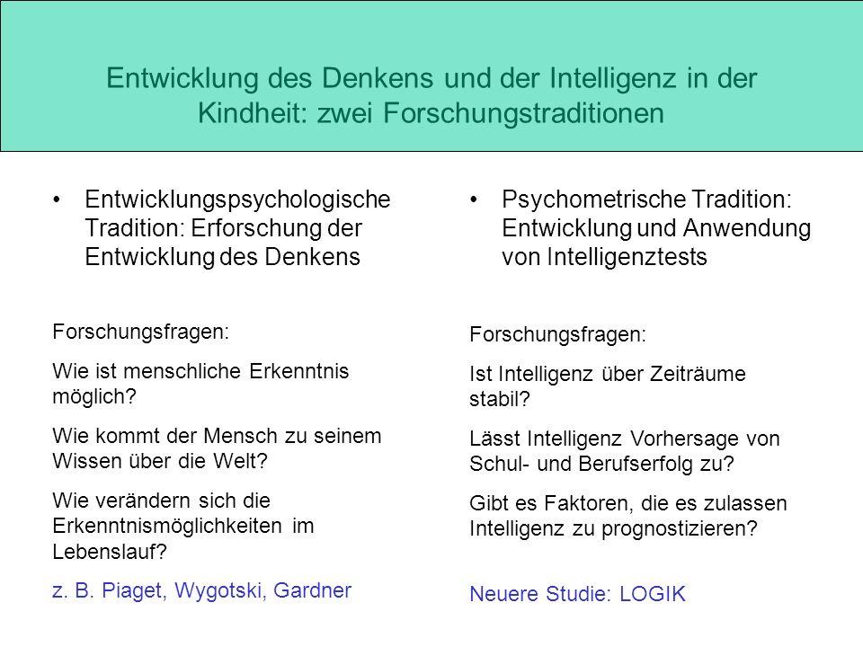 Entwicklung des Denkens und der Intelligenz in der Kindheit: zwei Forschungstraditionen