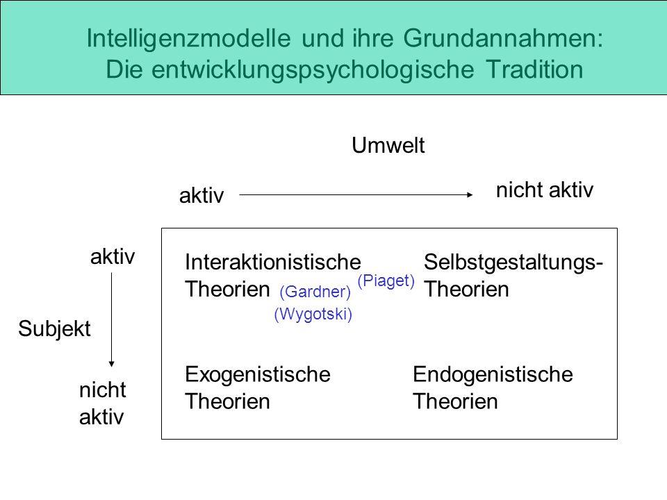 Intelligenzmodelle und ihre Grundannahmen: Die entwicklungspsychologische Tradition