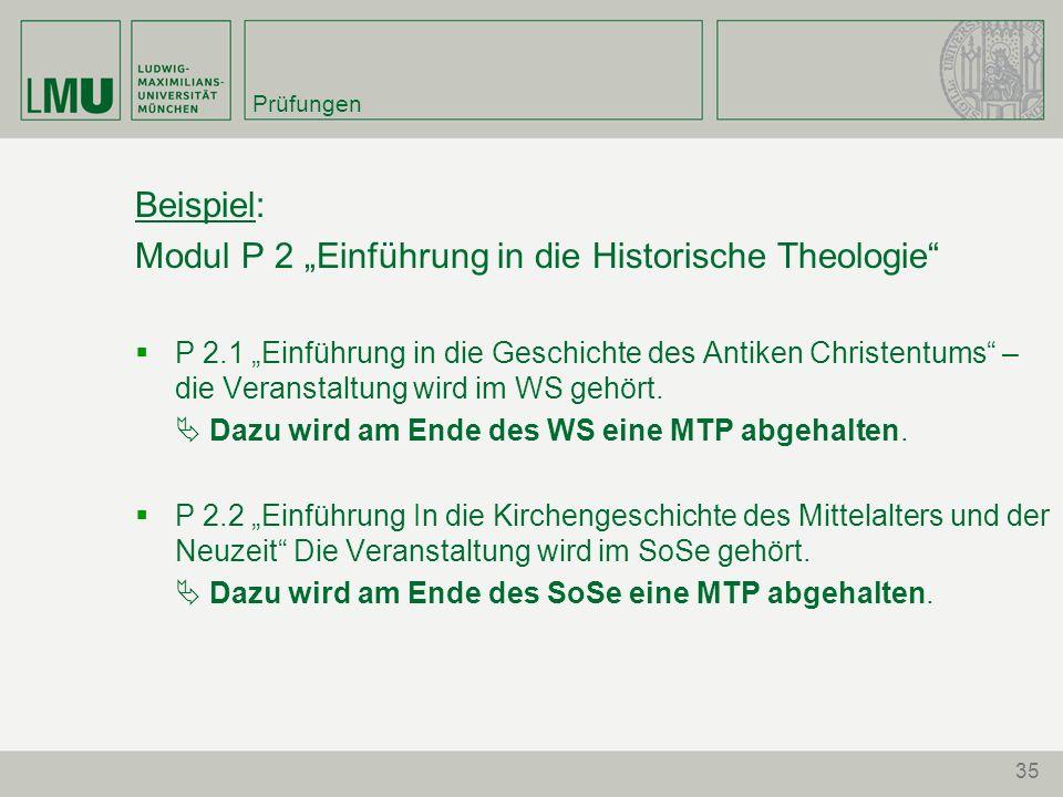 """Modul P 2 """"Einführung in die Historische Theologie"""