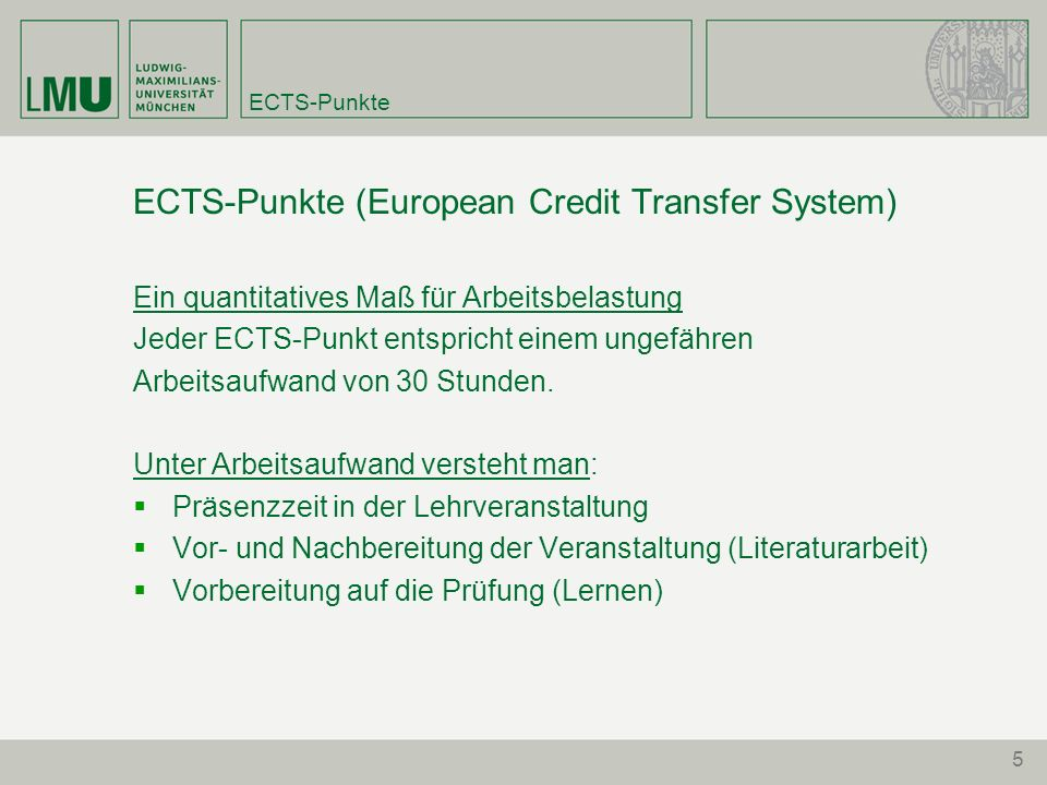 ECTS-Punkte (European Credit Transfer System)