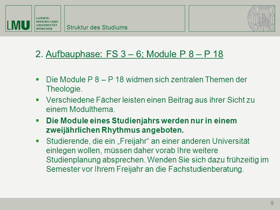 2. Aufbauphase: FS 3 – 6; Module P 8 – P 18