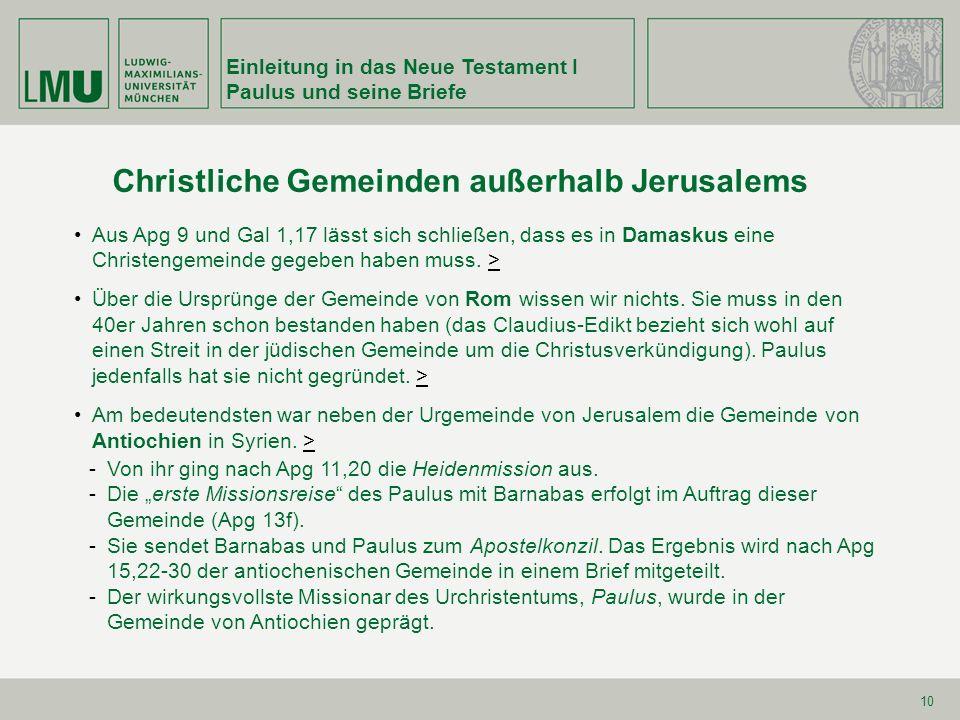 Christliche Gemeinden außerhalb Jerusalems