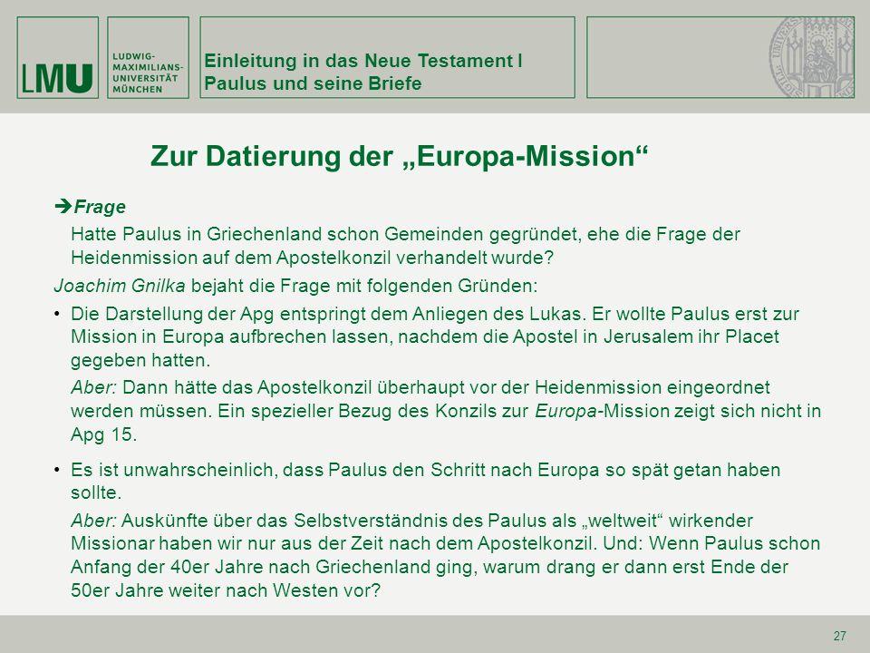 """Zur Datierung der """"Europa-Mission"""