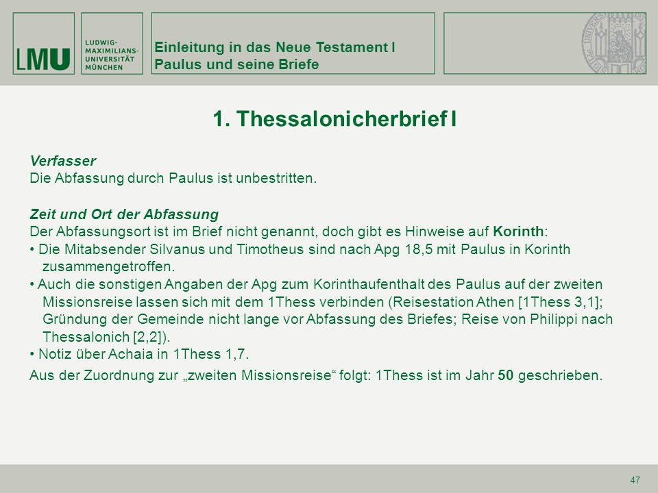 1. Thessalonicherbrief I