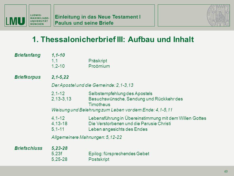 1. Thessalonicherbrief III: Aufbau und Inhalt
